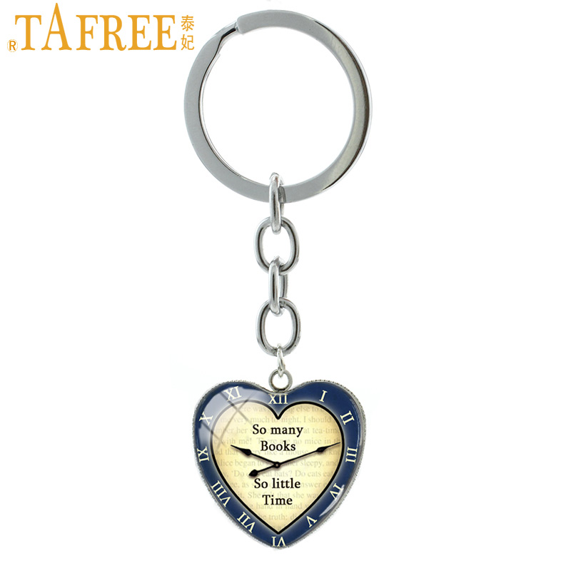 TAFREE So Many Books So Little Time Clock Keychain New Fashion Trendy Heart Pendants Key Chain Ring Book Lover Gifts Jewelry H62