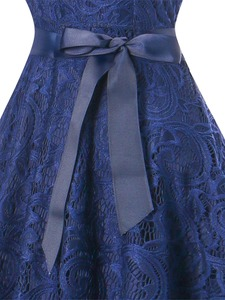 Image 5 - OML510Z#V neck Navy blue Bow Short Bridesmaid Dresses wedding party dress 2019 prom gown womens fashion wholesale clothing