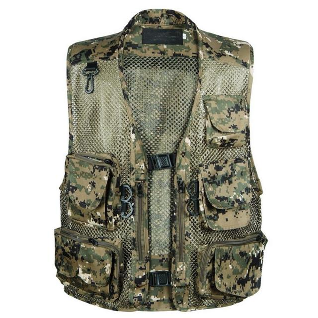 Mesh Vest With Pockets Camouflage Shooting Photographer Sleeveless Military Jacket Mens Vest Field Plus Size XXXL Clothing Brand