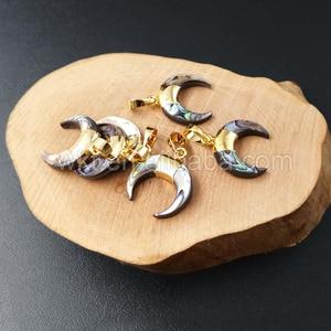 Image 4 - Pendentif en corne de croissant dormeau minuscule de WT P958, pendentifs en corne dormeau de couleur or 24k