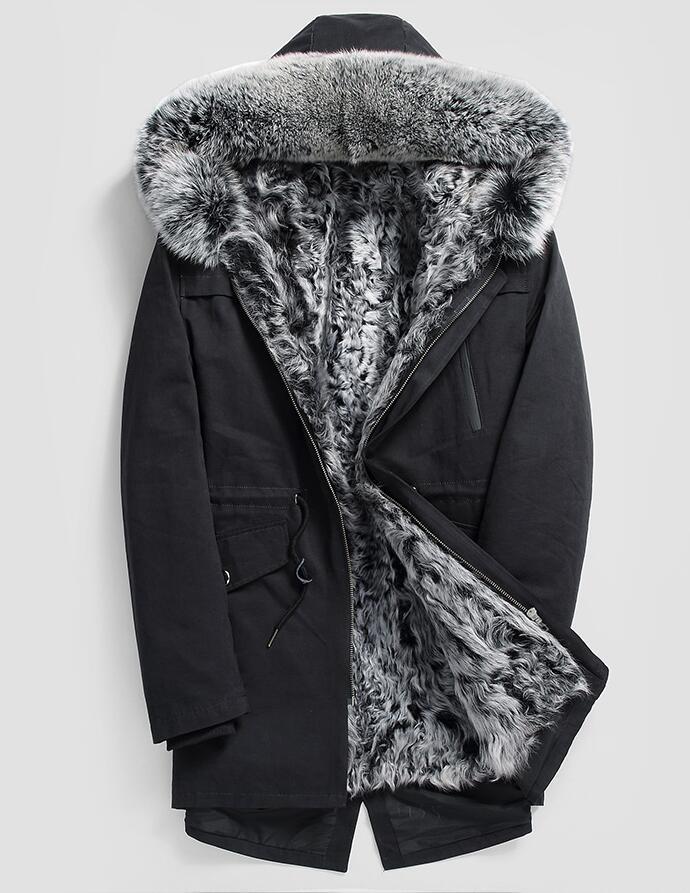 GüNstiger Verkauf Hohe Qualität 2017 Neue Männer Winter Jacke Mit Fox Pelzkragen Kapuze Pelz Einem Innen Warme Wintermantel Schrumpffrei Edler Schmuck
