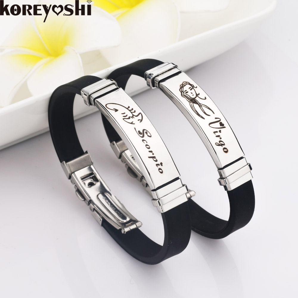 12 Constellations Stainless Steel Bracelets Men Rubber Charm Casual  Personality Bracelets & Bangles Jewelry For