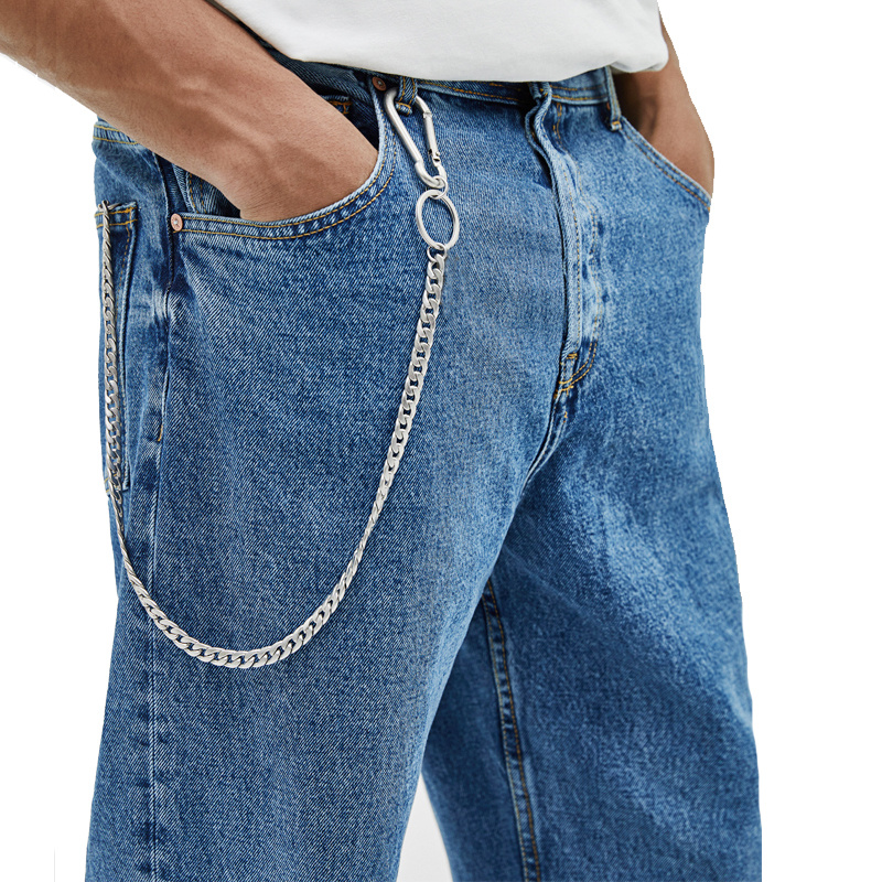45cm Stainless Steel Punk Hip hop Trendy Belt Waist Key Ring Trouser Chain Male Pants Chain Men Jeans Punk Silver Wallet Chain in Key Chains from Jewelry Accessories