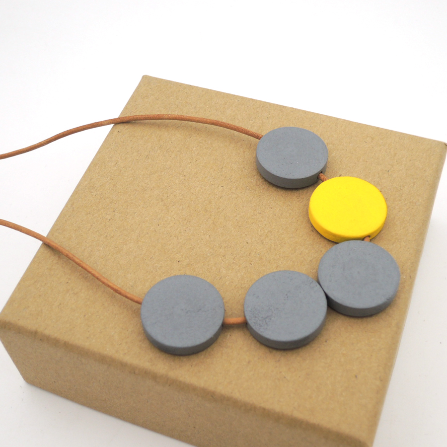 Grey yellow disk geometric wood leather necklace pandant minimalist statement CHEAP LIGHT WEIGHT NW294