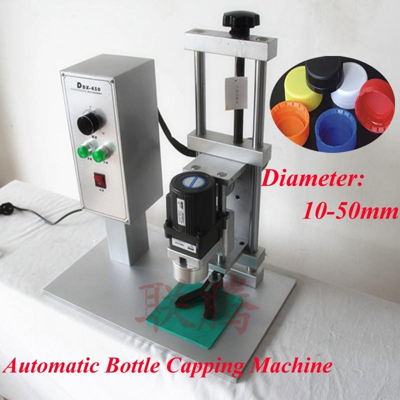 Настольный Автоматический бутылки покрывая машина диаметр 10-50мм покрывая Привинчивая машина Электрический замок крышки процедуры ddx-450