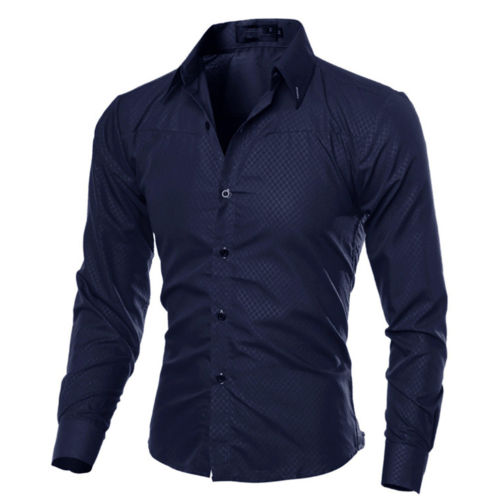 Blue Small Plaid Blusa Brand Male Business Shirt Long Sleeve Tops Gentleman Party Clothes Handsome Boy Blouse High Quality 5XL