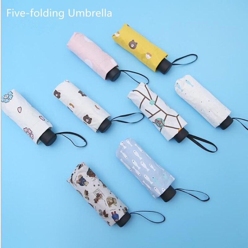 Tragbare männer Fünf-falten Regenschirm Mini Tasche Regenschirme Verhindern UV Regendicht Folding damen kleine fünf falten sonnenschutz regenschirm