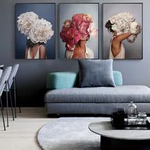 Modern minimalist sexy girl Flowers characters abstract posters and prints wall art canvas painting For living room Unframed
