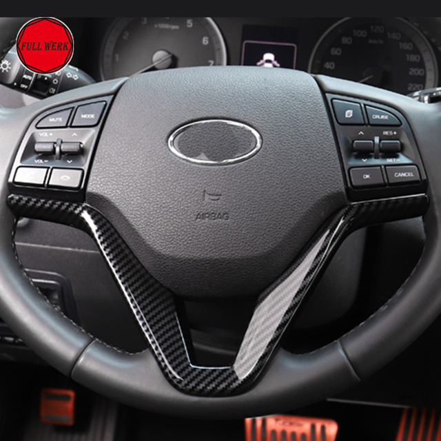 Lantejoulas Volante do carro Tampa Decoração de Interiores 3th Guarnição para Hyundai Tucson 2015 2016 2017 2018 LHD 19 ABS Chrome accessori