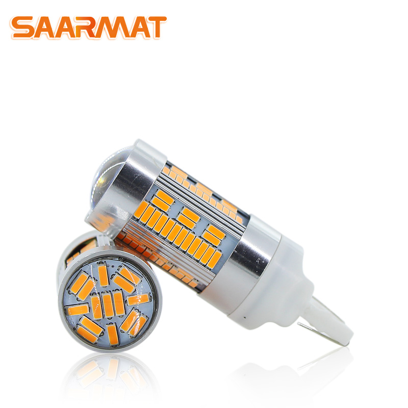 2x LED CanBus No Error 1156 7506 7528 BA15S P21W led BAU15S PY21W <font><b>T20</b></font> 7440 WY21W For Car Turn Signal Light No Flash Yellow @12V image