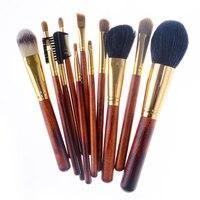 Soft 12 Pcs Makeup Brush Set High Quality Natural Hair Professional Makeup Brushes Powder Eyeshadow Eyeliner