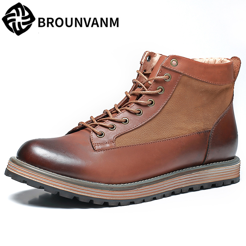 men's casual Martin boots all-match cowhide autumn winter British retro High top shoes men steel toe boots Chelsea boots male