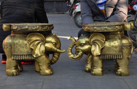 christmas old Chinese brass Feng Shui auspicious Elephant goldfish statue chair stool pair halloween