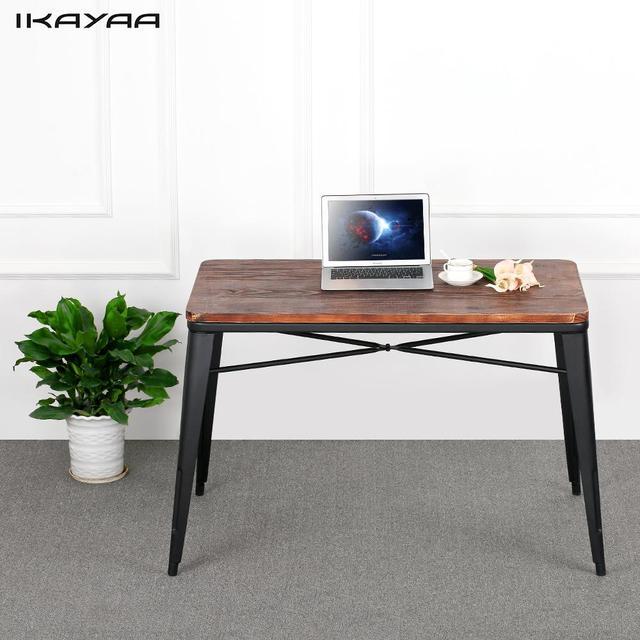 Ikayaa mesa al aire libre antiguo Pino natural mesa de comedor metal ...