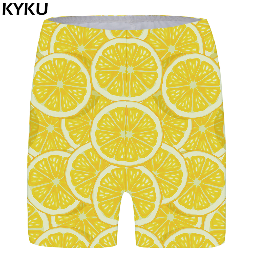 KYKU Lemon Shorts Women Fruit Short Pants Cool Yellow 3d Printed Casual Sexy Ladies Womens Summer Fashion New