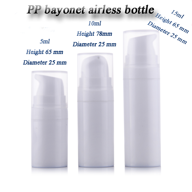50pcs lot 5ml 10ml 15ml PP small sample airless bottle vacuum pump bottle lotion bottle used