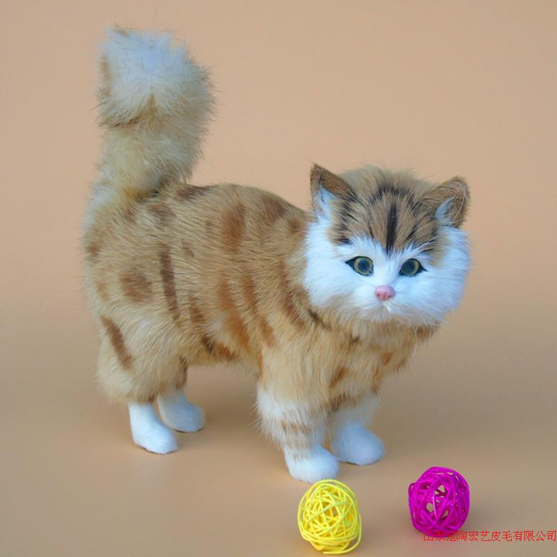 new simulation cat polyethylene & furs  yellow stripe standing cat model gift about 23*9*20CM 229