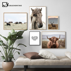 Scandinavian Poster Nordic Print Deer Horse Cattle Animal Wall Art Canvas Painting Wild Field Nature Picture Living Room Decor