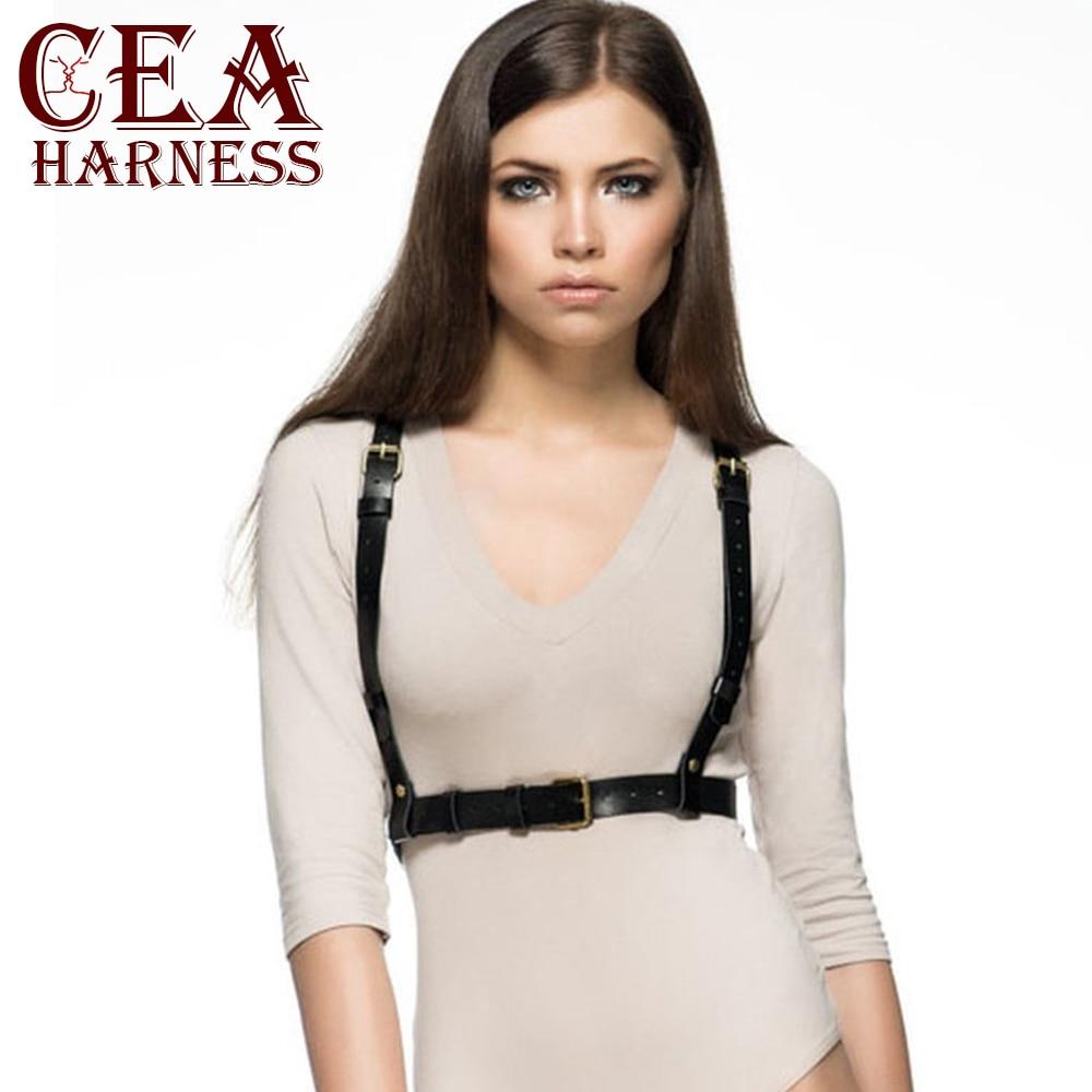 CEA.HARNESS Casual Suit Straps Slim Waist Garter Belts Handmade Faux Leather Harness Women Sculpting Body Bondage Suspenders
