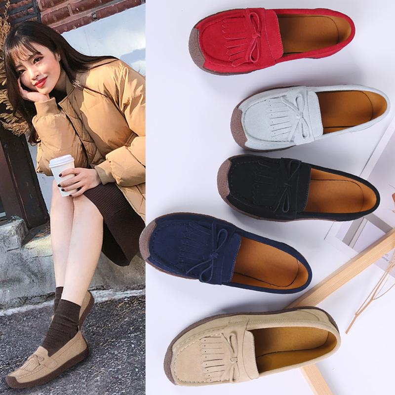 Krasovki Single Shoes Women Spring Autumn Leather Flat Bottom Tassel Snail Shoes Slip on Large Size Dropshipping Women Shoes in Women 39 s Flats from Shoes