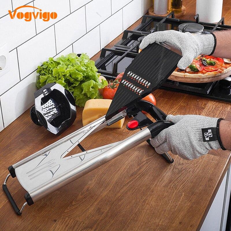 VOGVIGO Professionale Multifunzionale V-Affettatrice Mandoline Affettatrice Selettore rotante Frutta & Verdura Cutter con 5 Lame Attrezzo della cucina