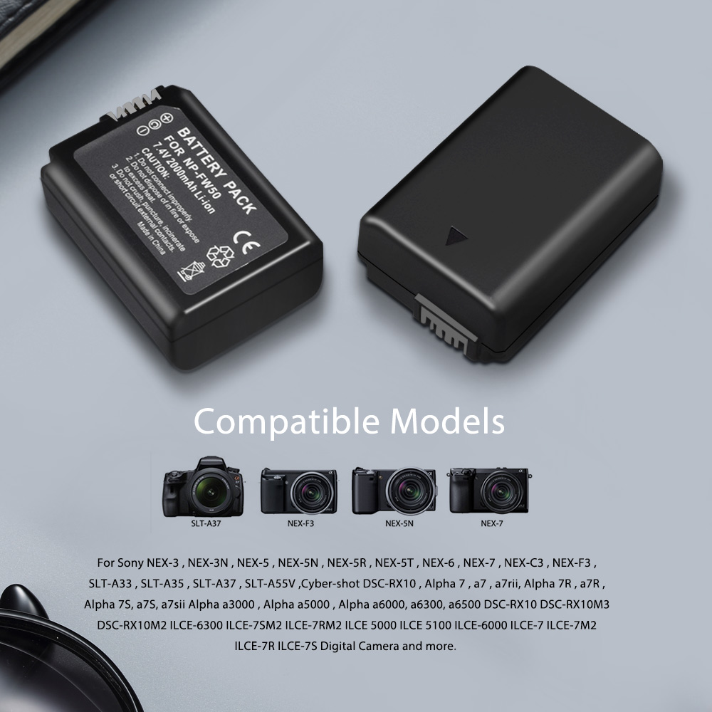 Image 5 - PALO 2pcs 2000mAh NP FW50 NP FW50 Camera Battery + LCD USB Dual Charger for Sony Alpha a6500 a6300 a6000 a5000 a3000 NEX 3 a7R-in Digital Batteries from Consumer Electronics