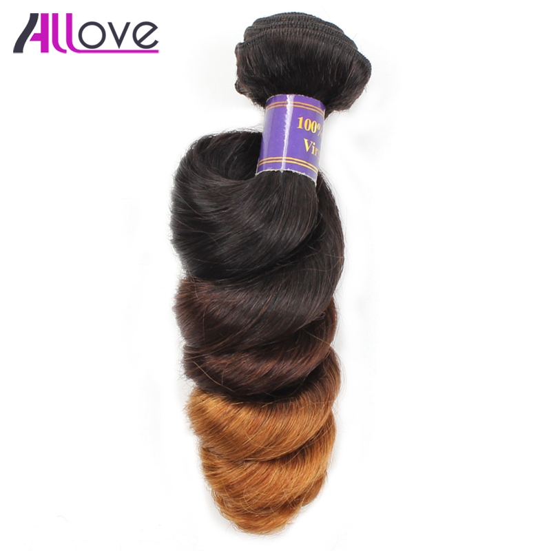 Allove T1B/4/30 Indian Loose Wave Human Hair Bundles 1Pc Only Ombre 3Tone Remy Human Hair Weave Extension 12-24 Available