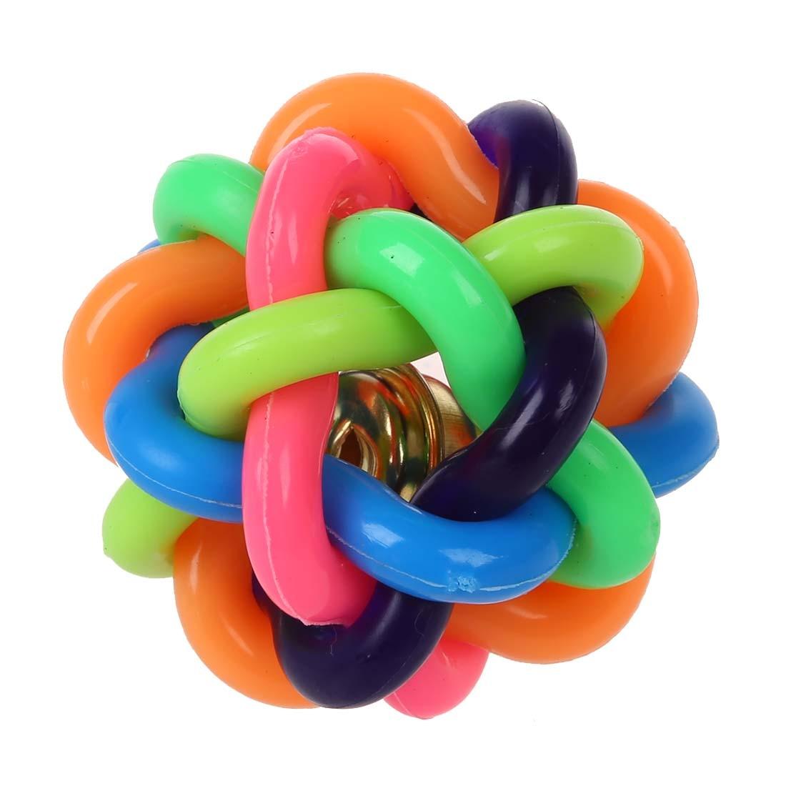 Zelfbewust 4.5 Cm Pet Dog Cat Rainbow Rubber Bell Ball Speelgoed Geluid Ronde Bal Met Kleine Bell Huisdier Product