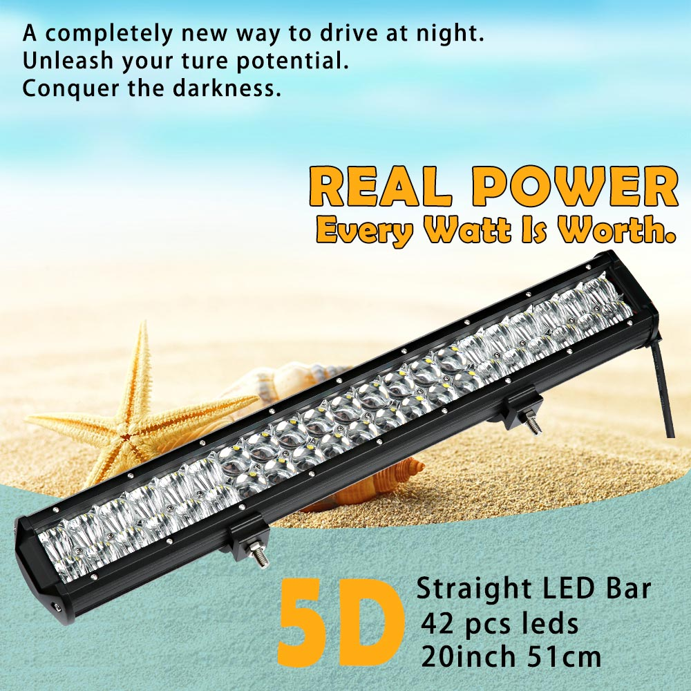 Real Power 5D 20 Inch 51cm Led Bar Led Work light for Off Road 4x4 4WD ATV UTV SUV Driving Motorcycle Car Truck Led Light Bar