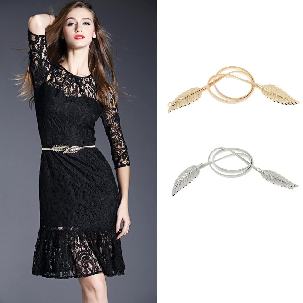 Vintage Women Belt Leaf Design Clasp Front Stretch Metal Waist Belt Skinny Elastic Cinturon Ceinture Femme Gold Silver