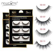 NEWCOME 3 Pairs 3D False Mink Eyelashes Thick Cross Full Strip Natural Long Eyelash 100% Hand Made Fake Lashes Makeup Tools