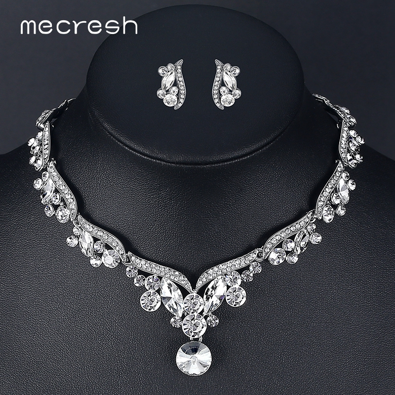Mecresh Crystal Wedding Jewelry Sets for Women Silver Color Leaf Rhinestone Necklace Sets Bridal Engagement Jewelry