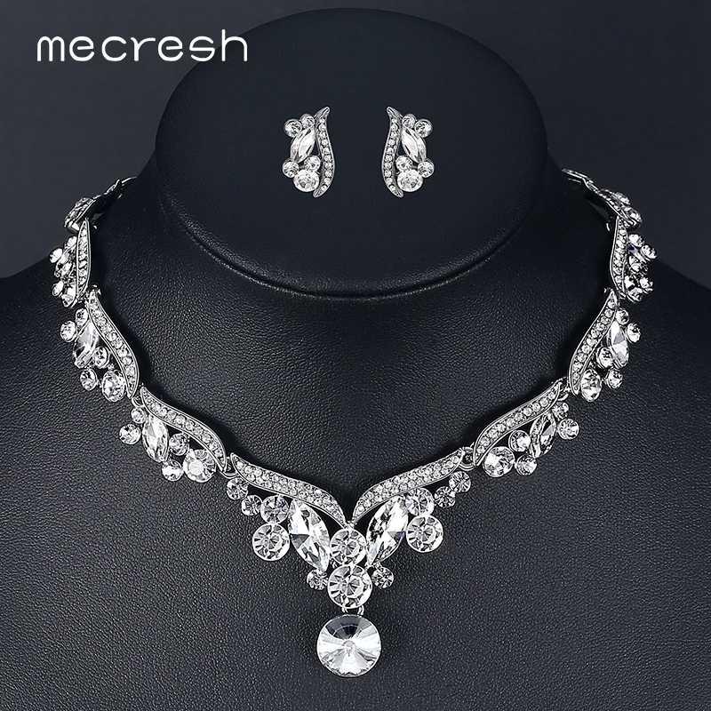 50e5b2a7b3e7 Mecresh Кристалл Наборы свадебных ювелирных изделий для Для женщин  серебристый лист наборы кулонов из горного хрусталя