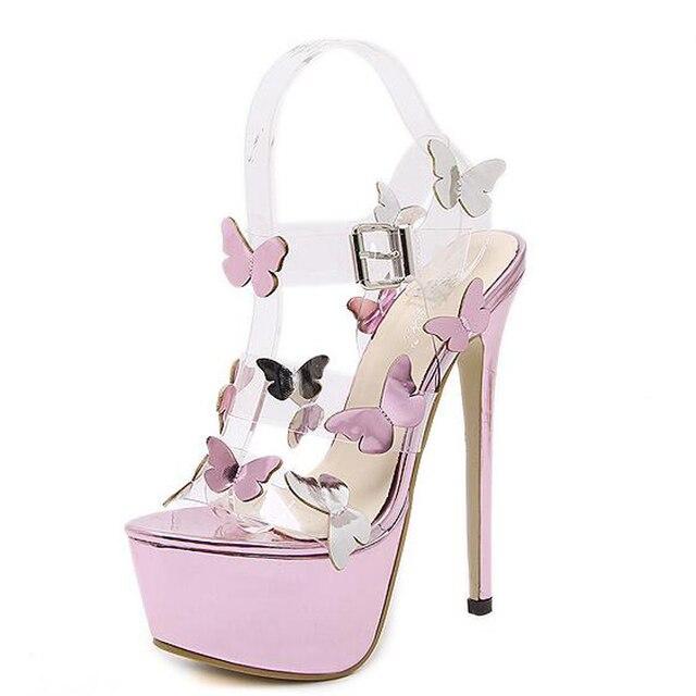 039784c267df ankle strap heels platform sandals women transparent heel shoes women pumps  high heels women sexy pumps
