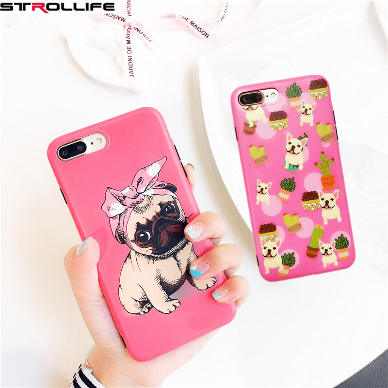 STROLLIFE Cute Cartoon Animal Dog Bulldog Phone Cases For iphone 7Plus 6 6S Soft IMD Silicon Pink Back Cover For iphone 7 Coque