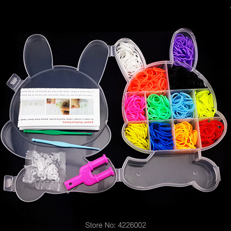 600pcs Colorful Rubber Loom Bands Weaving Elastic Tool DIY set Charms Kit Box Girls Gift Kids Toys for Bracelet Children 10 year