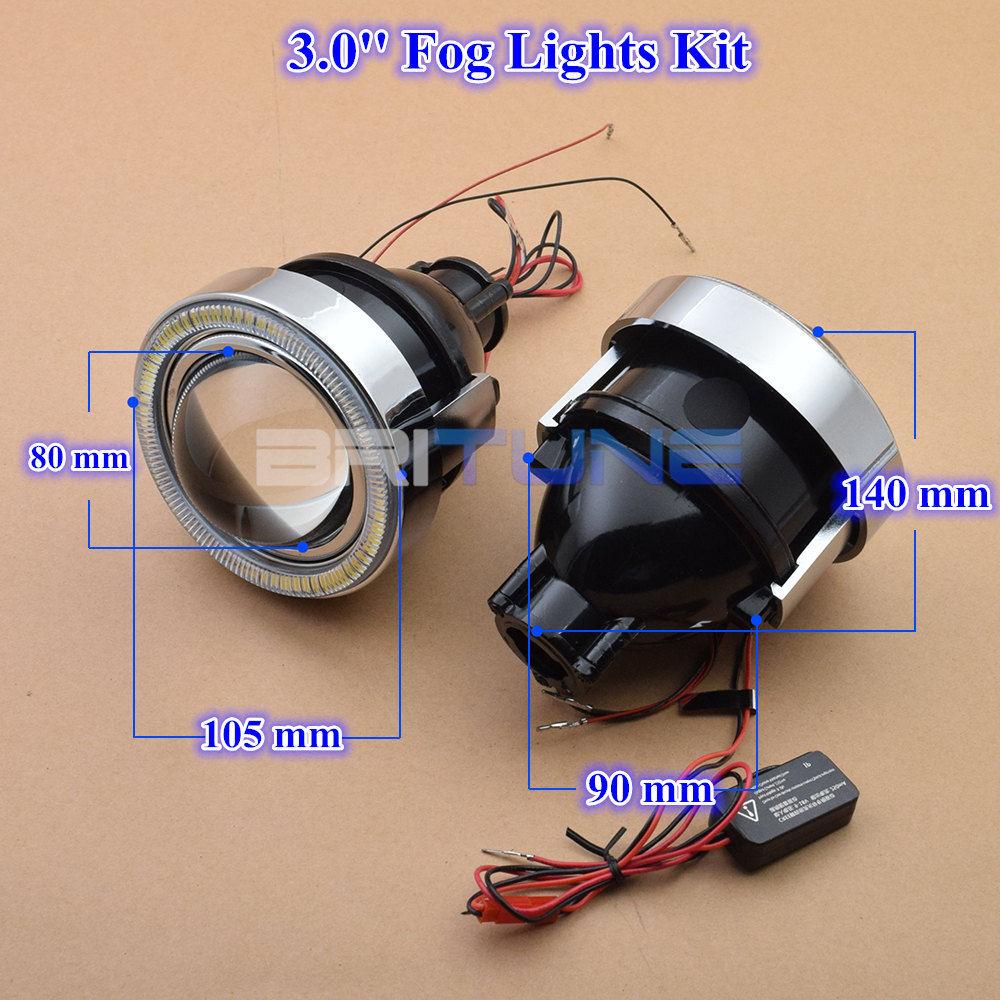 Britune Универсальный противотуманный светильник светодиодный ангельские глазки автомобильные линзы H11 HID проектор водонепроницаемый автомобильный светильник в сборе аксессуары для настройки 2,5/3,0 - Цвет: 3.0 inch