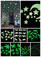 9 styles 3D Wall Stickers Glow In The Dark Luminous Fluorescent Wall Stickers For Kids Baby Room Bedroom Ceiling Home Decor(China)