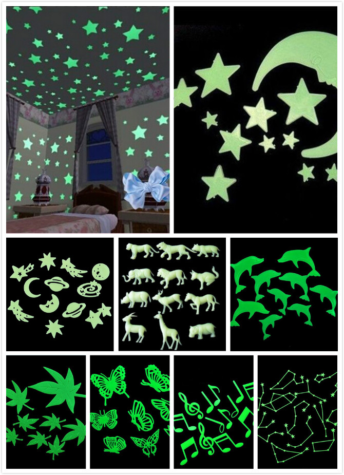 9 styles 3D Wall Stickers Glow In The Dark Luminous Fluorescent Wall Stickers For Kids Baby Room Bedroom Ceiling Home Decor