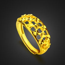 Wholesale gold color hollow-carved ring simple fashion charm Woman popular adjustable section width 10mm Christmas gift