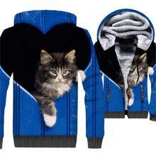 men jackets coats cute cat 3D print hoodies 2019 winter wam wool liner brand fashion male thick zipper hip-hop clothes
