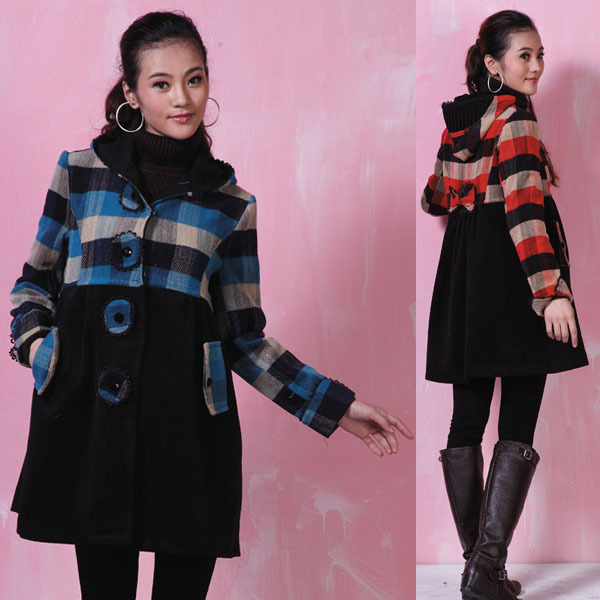 2016 Autumn and Winter Maternity Clothing Wool Dreadfulness With Hood Overcoat Maternity Outerwear Jacket Winter Coats Plus Size