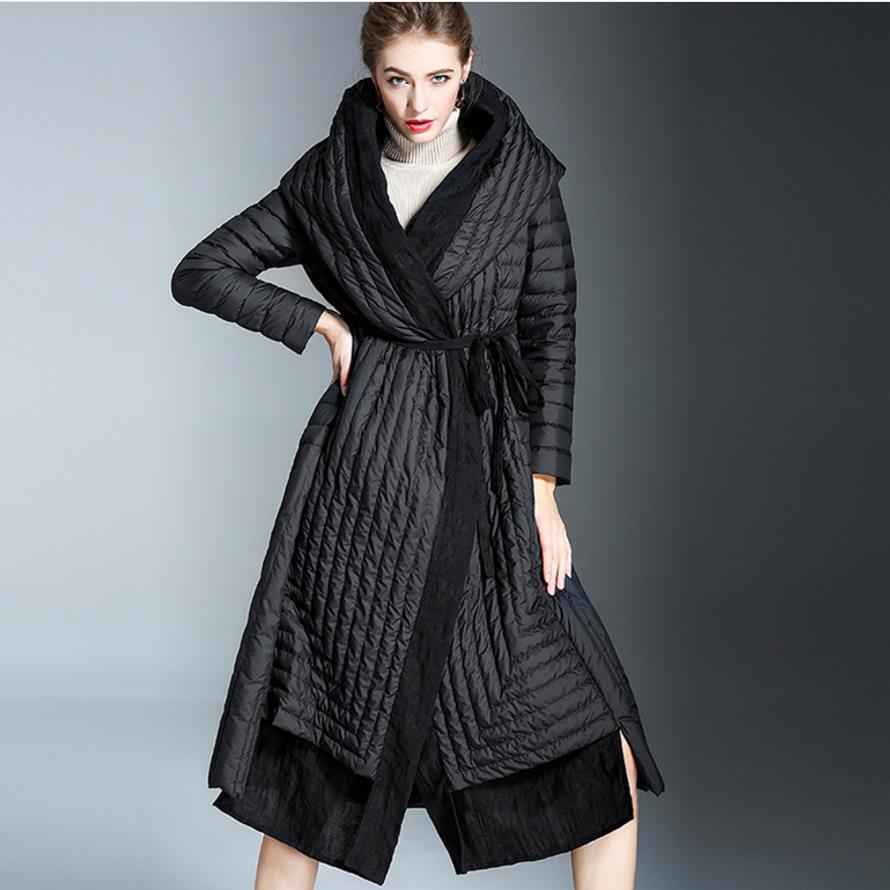 2018 WINTER Women Loose Black   Down     Coat   Jackets Fashion Women Back Oversize hooded   Down     Coats   plus size 2XL