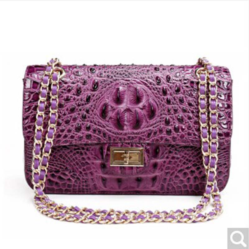 MSHG 2018 new Crocodile leather female handbag chain package fashion single shoulder oblique female bag purple women chain bag
