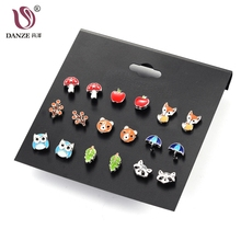 DANZE 9 Pairs/lot Cute Resin Small Animal Fox Frog Bear Owl Stud Earrings Set For Children Women Aros Pendientes Girls Brinco