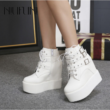 цены на NIUFUNI Genuine Leather Women Casual Shoes Platform Breathable Buckle Resistant Shoes Comfortable Ankle Lace Up Wedges Sneakers  в интернет-магазинах