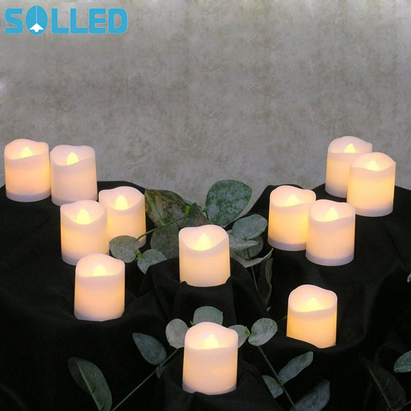 SOLLED 12pcs Flameless LED Candle Flicker Light Lamp Decoration Electric Battery-powered Candles Night light Wedding Candle