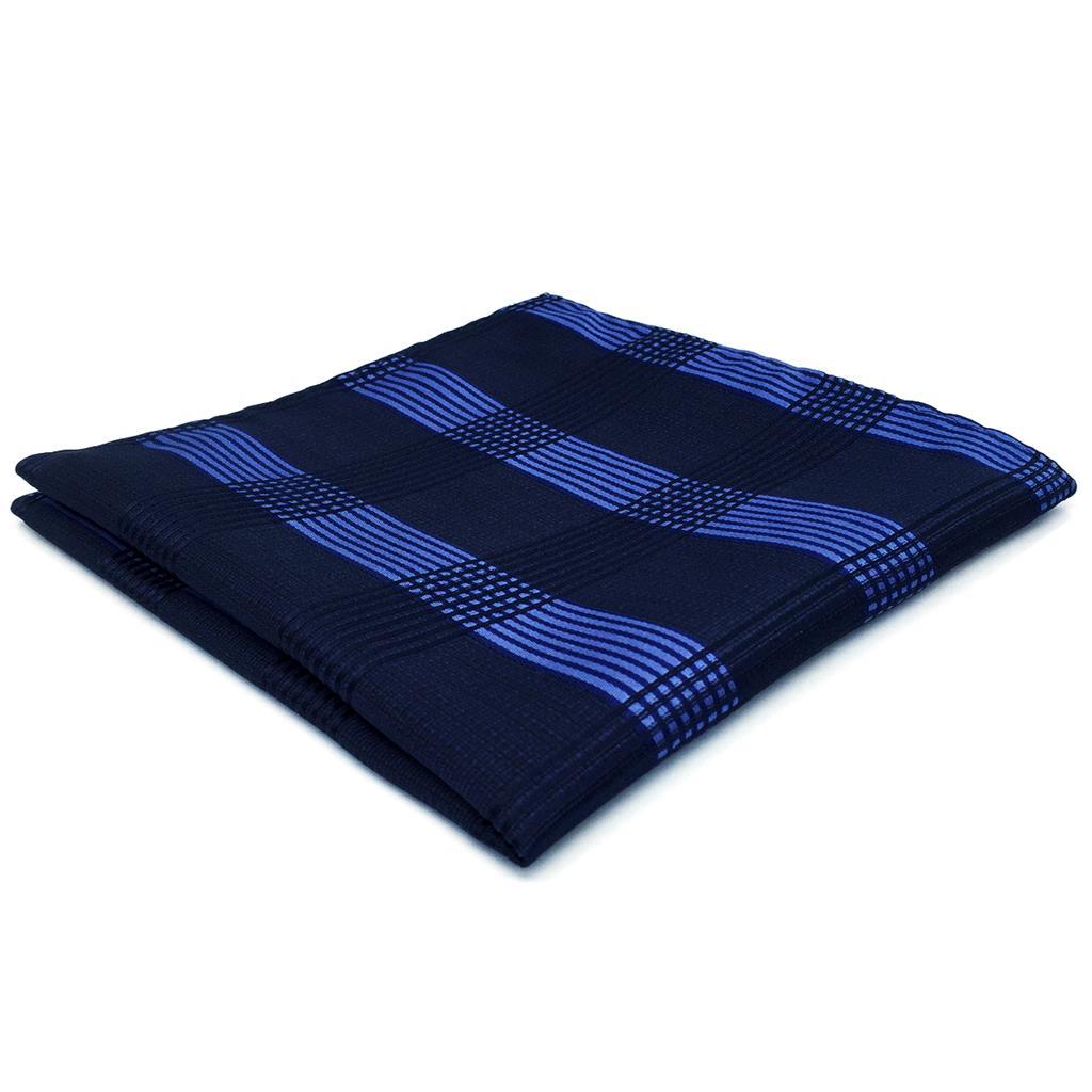 BH22 Navy Checkes Mens Pocket Square Fashion Classic Handkerchief