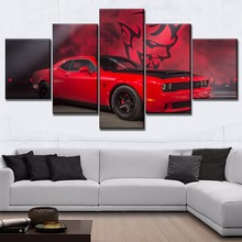 Red Muscle Car Dodge Challenger Painting Framed Or Frameless One Set 5 Pcs Modular Combinatorial Art Picture Canvas Print Type стоимость