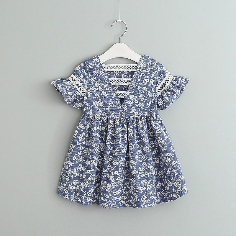 Lollas Spring Summer New Girls Cotton Print Blue and White Floral Floral Baby Back Lace Cutout D